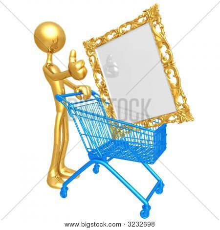Human Figurine Pushing Shopping Cart With Golden Picture Frame