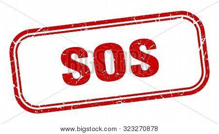 Sos Stamp. Sos Square Grunge Sign. Sos