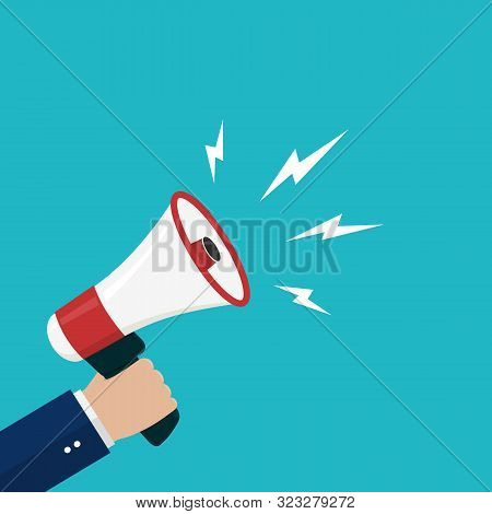 Cartoon Hand Holding Loudspeaker, Loud Voice Horn, Megaphone.flat Banner With Person Shout Message.s