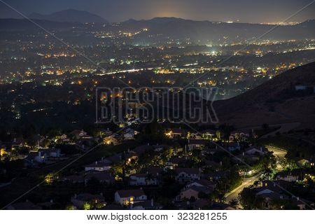Hazy night hilltop view of suburban Simi Valley near Los Angeles in Ventura County, California.