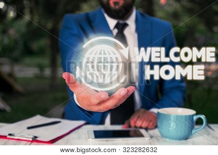 Conceptual hand writing showing Welcome Home. Business photo text Expression Greetings New Owners Domicile Doormat Entry. poster