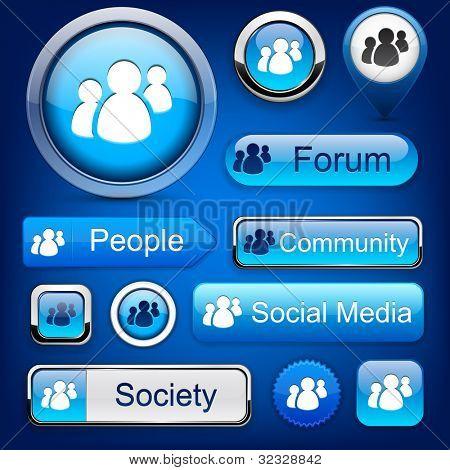 人的 web 网站或应用向量 eps10 的蓝色按钮。