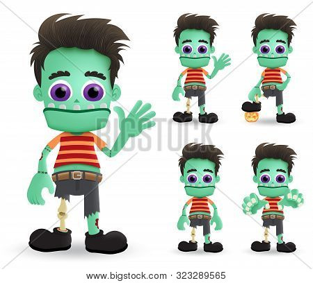 Zombie Halloween Vector Characters Set. Scary Zombie Halloween Monster Character Creature Standing A