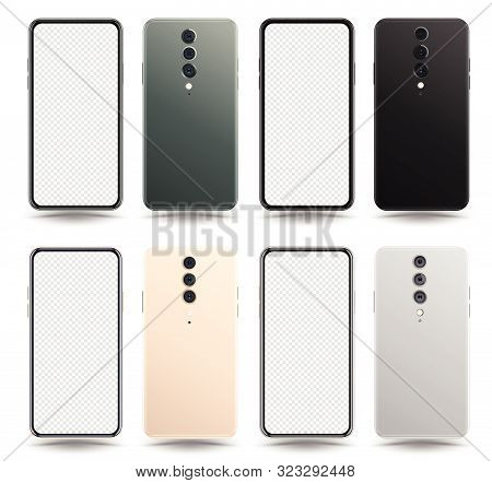 New Realistic Mobile Phone Smartphone Collection Mockups With Blank Screen Isolated On White Backgro