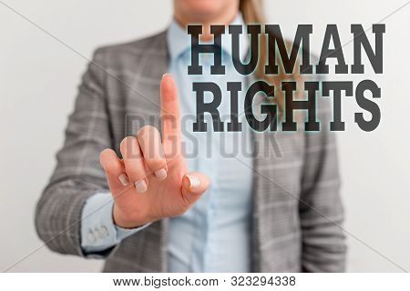 Word writing text Huanalysis Rights. Business concept for Moral Principles Standards Norms of a showing protected by Law Digital business concept with business woman. poster