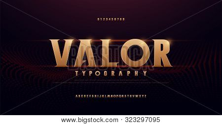 Abstract Serif Gold Alphabet Fonts. Typography Modern Golden For Rock, Music, Game, Future, Creative