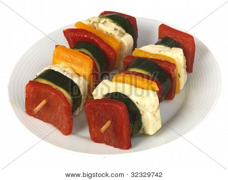 Two Halloumi Vegetarian Kebabs