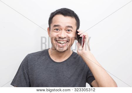 Business Asian Men Intend Using Smartphone On White Background
