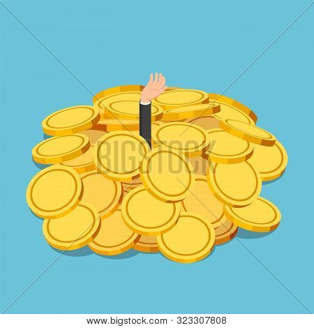 Flat 3d Isometric Businessman Drowned In Gold Coin Pile. Financial Crisis Or Business Success Concep