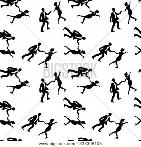 Seamless Pattern With Couples Dancing Jazz. Black And White Colors. 1940s And 1930s Style. Woman Wit