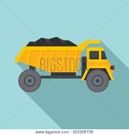 Coal Dump Truck Icon. Flat Illustration Of Coal Dump Truck Vector Icon For Web Design