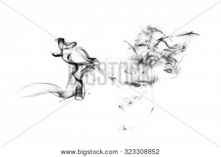 Black Smoke. Transparent Smoking, Clouds, Hot Food Steam Cigarette Tea Coffee Smoke Steaming Texture