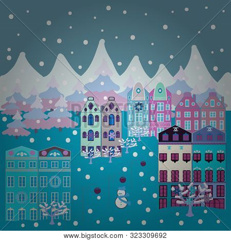 A Fairytale Village With Bright Houses And Trees, Hills, Mountans, Snowman. For Design Background. P