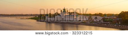 Kostroma, Russia - September 10, 2019: September Evening Panorama With The Ipatiev Monastery. Golden