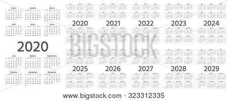 Spanish Calendar 2020, 2021, 2022, 2023, 2024, 2025, 2026, 2027, 2028, 2029 Years. Vector. Week Star