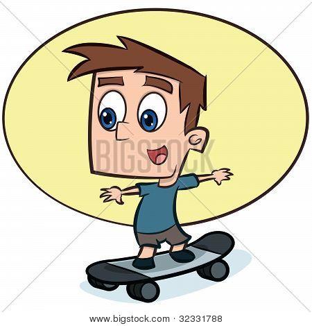Boy playing on skateboard