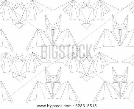 Seamless Texture With Outline Poligonal Bats In A Row. Halloween Holiday. Animal Origami. Paper Zoo.