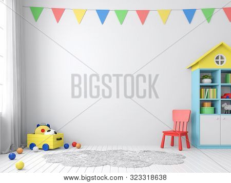 The Playroom 3d Render Has White Walls And Floors Decorated With Colorful Furniture.the Walls Are De
