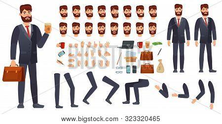 Cartoon Businessman Character Kit. Business Characters Constructor, Different Hands Gestures, Face E