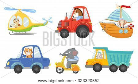 Cute Animal Drivers. Animal Driving Car, Tractor And Truck. Toy Helicopter, Sailboat And Urban Scoot
