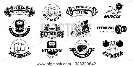 Retro Fitness Badges. Gym Emblem, Sport Label And Black Stencil Bodybuilding Badge. Fit Weight Train