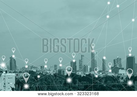 Location Gps  Or Map Pin Flat Above Green Tone City Scape And Network Connection Concept. Green Tone
