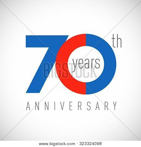 70 Th Anniversary Numbers. 70 Years Old Congrats, Colorful Logotype. Congratulation Idea. Isolated A
