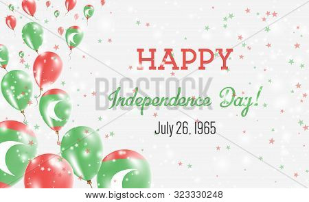 Maldives Independence Day Greeting Card. Flying Balloons In Maldives National Colors. Happy Independ