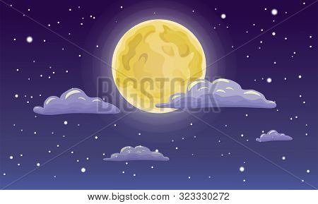 Vector Full Moon, Stars, And Clouds On The Dark Midnight Sky. Night Sky Scenery Background. Cartoon