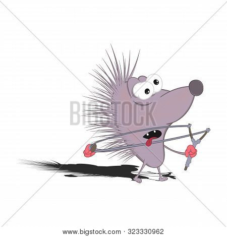 Little Cartoon Hedgehog Shoots From A Slingshot. Isolated On A White Background.