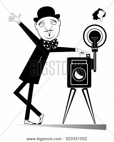 Elegant Retro Photographer With Camera Illustration. Cartoon Smiling Photographer In The Bowler Hat