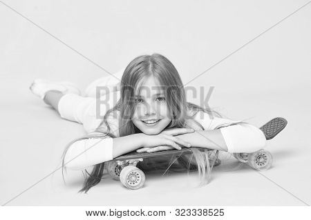 Trendy Girl. Ride Penny Board And Do Tricks. Girl Likes To Ride Skateboard. Active Lifestyle. Girl H