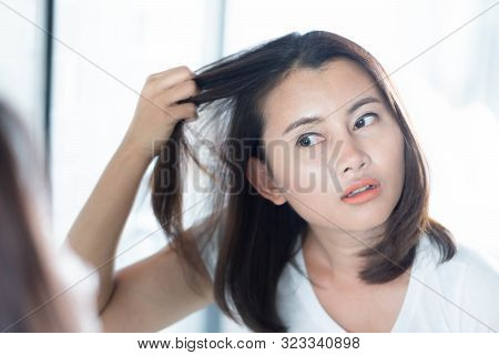 Woman Looking Reflection In The Mirror Serious Hair Loss Problem For Health Care Shampoo And Beauty