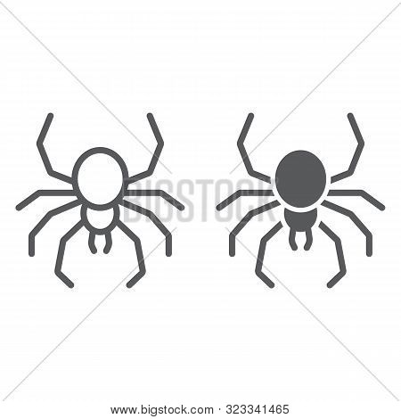 Spider Line And Glyph Icon, Spooky And Animal, Arachnid Sign, Vector Graphics, A Linear Pattern On A