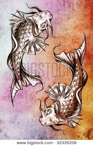 Sketch of tattoo art, japanese goldfish over colorful paper