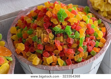 Colourful Candied Fruits In Wooden Basket, Succade, Sweetmeat, Candied Food.