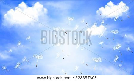 Flying Dandelion Against The Sky With Clouds, Vector Art Illustration.