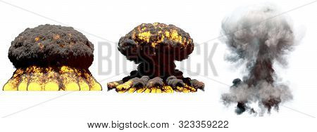 3 big different phases fire mushroom cloud explosion of fusion bomb with smoke and flames isolated on white - 3D illustration of explosion poster