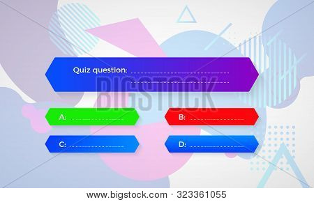 Design Of Quiz In Blue Color. Question And Four Answer Option. Correct Answer Is Green. Wrong Answer
