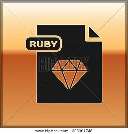 Black Ruby File Document. Download Ruby Button Icon Isolated On Gold Background. Ruby File Symbol. V