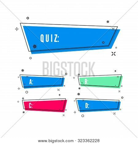Design Of Quiz. Question And Four Answer Option. Correct Answer Is Green. Wrong Answer Is Red. Vecto