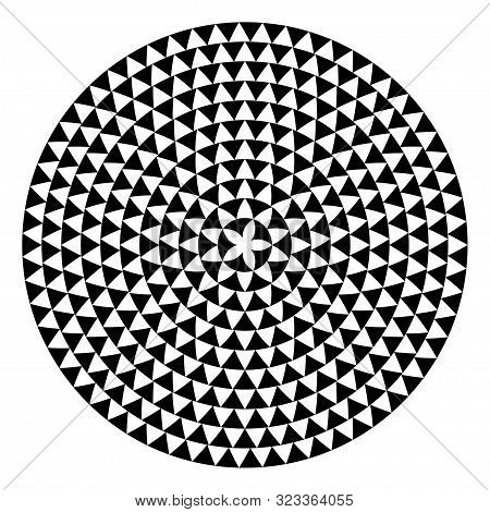 Round Shape With Triangles Elements. Vector Meander Template Texture.