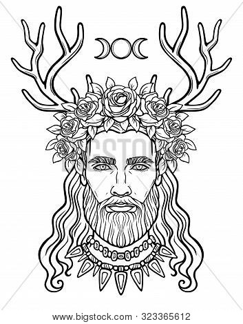 Animation Portrait Of The Young Man In A Wreath With Deer Horns.  Pagan God Cernunnos. Mysticism, Es