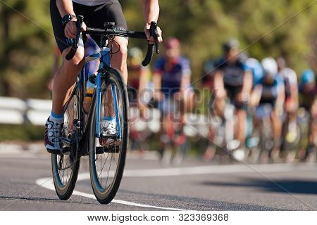 Group Of Cyclist At Professional Race, Cyclists In A Road Race Stage