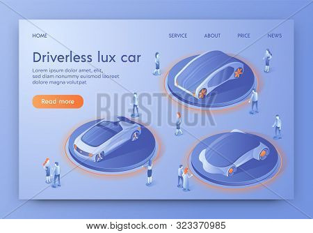 Driverless Lux Car Banner, People Visiting Show Room Exhibition With Unmanned Auto Transport. Autono