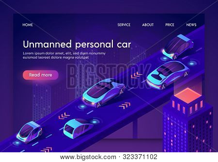 Unmanned Personal Car Neon Banner. People Safe Driverless Artificial Intelligent Auto Transport Syst