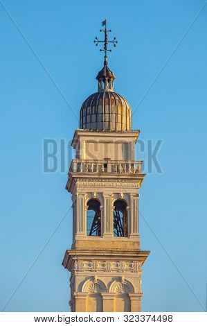 Bell Tower Of Catholic Church In Venice, Italy.