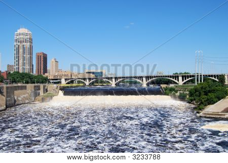 St. Anthony Falls In Downtown Minneapolis