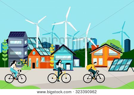 Green City Landscape With Modern Buildings, Cyclists, Solar Panels And Wind Turbines. Eco Urban Livi