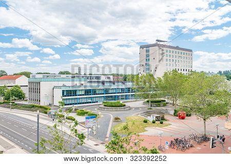 Wolfsburg, Germany - June 8, 2019: Panoramic View With Town Hall Of Wolfsburg.